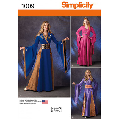 Simplicity Misses Medieval European Fantasy Costumes  Fabric Sewing Pattern 1009
