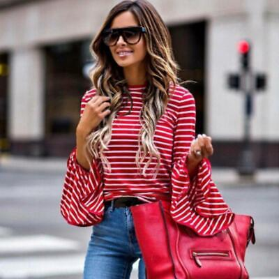 Women Long Bell Ruffle Sleeve Stripes T-Shirt Casual Loose Blouse Tops LC