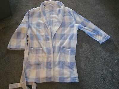 New Look Soft Feel Blue And White Check Dressing Gown - Size Large - V.g. Cond