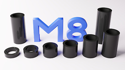 M8 Black Plastic Spacers Standoff Washer Nylon 3mm to 30mm Choice of Quantity.