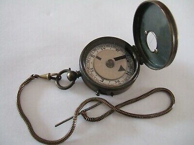 Original Victorian Heavy Brass Cased Pocket Compass & Chain