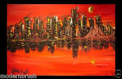 MANHATTAN  ORIGINAL OIL ABSTRACT PAINTING CONTEMPORARY CANADIAN j234T