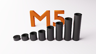 M5 Black Plastic Spacers Standoff Washer Nylon 3mm to 30mm Choice of Quantity.