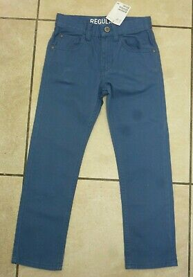 H&M Boys Cotton Twill 5 Pocket Trousers Regular Fit Ages 4-6 Years BNWT Blue