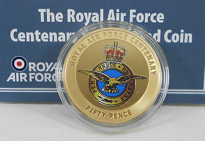 Official RAF Centenary Gold-Plated Coin 50p The RAF Centenary Coin, Jersey 2018