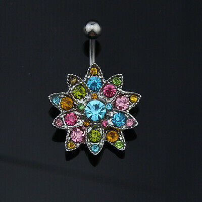 Colorful Flowers Belly Button Rings Fashion Women Body Navel Piercing Jewelry