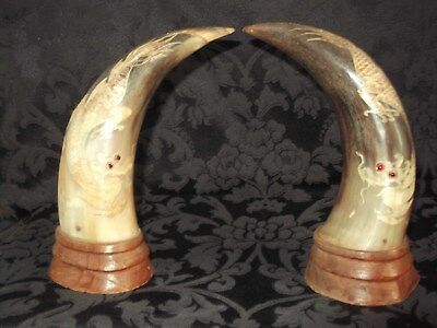 Vintage Chinese Ox Water Buffalo Pair of Horns with Hand Carved Dragon on Hardwo