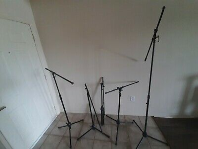Musicians Gear Mic Stands Adjustable Boom Tripod - Five Stands USED