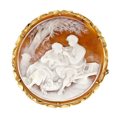 Rare Dark Shell Carved Cameo Lovers Under A Tree 14k Pin Pendant
