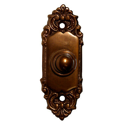 Brass Door Bell Victorian Style Electric Push Call Button Bronze Finish Small