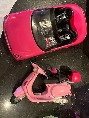 BARBIE Pink Convertible Car And Pink Moped