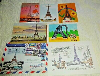 7 Assorted EIFFEL TOWER Paris France Used Cards Postcards for Crafting