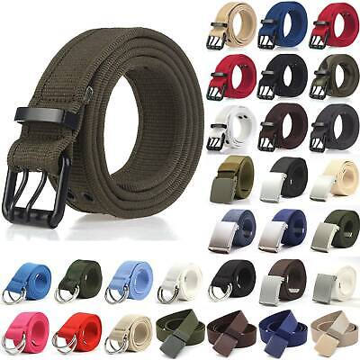 Unisex Canvas Fully Adjustable Webbing Military Buckle Fabric Jeans Waist Belts