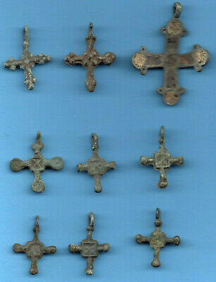 LOT OF 9 Ancient Viking Enamel Bronze Cross Kiev Russia ca 1100 Byzantine 85