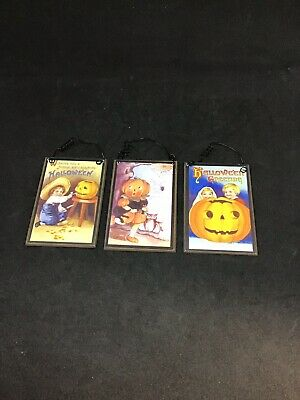 Vintage Reproduction Halloween Postcard Hanging Signs Lot Of 3 Retro Die Cut
