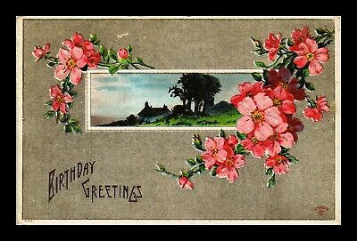 Dr Jim Stamps Us Pink Flowers Country Cottage View Birthday Greeting Postcard