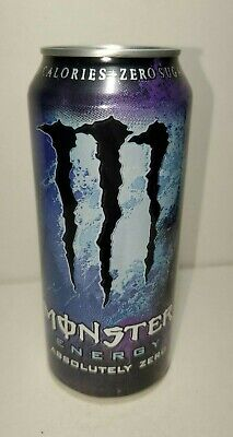 16oz Monster Energy ABSOLUTELY ZERO Bottom Drained for display  Silver Top can