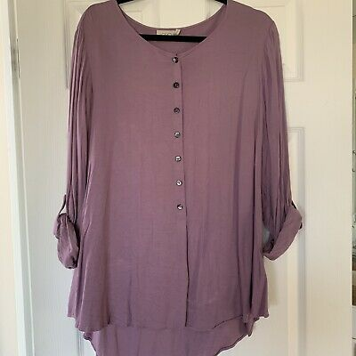 A263235 LOGO Lori Goldstein Button Front Twill Top w/ Roll Sleeves L Vntg Purple