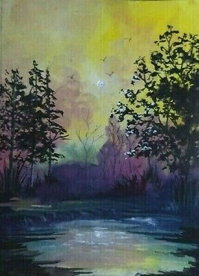 Sunrise  - Original Hand Painted Aceo Watercolor Acrylic Landscape Art Work