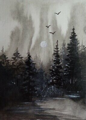 Midnight Moon - Original 100% Hand Painted Aceo Watercolor Acrylic Painting Card