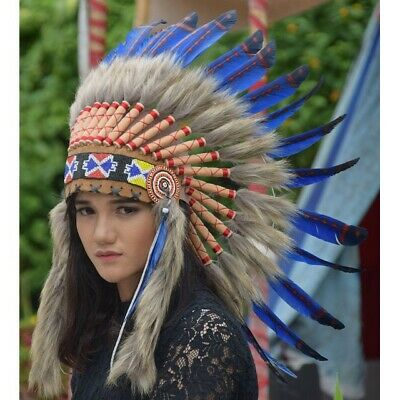 Blue Small Natural Apache Warbonnet Indian Native American Costum Halloween