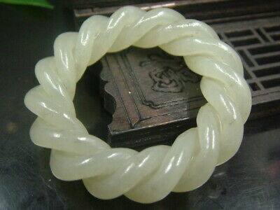 Antique Chinese Celadon Nephrite HETIAN-Jade Archer's Thumb Ring Twisted wire789