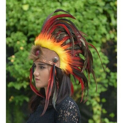 Mohawk Natural Red Orange Apache Warbonnet Indian Native American Halloween