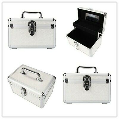 Silver Aluminum Make-up Organizer Multifunction Travel Cosmetic Case Pro Handle