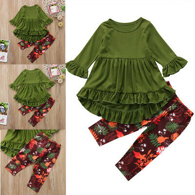 Toddler Baby Kids Girl Autumn Winter Clothes Tops Dress Pants Outfits 2PCS Set