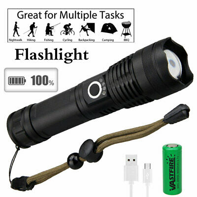 AU Rechargeable Powerful XHP50 LED Display Flashlight Zoomable USB Torch Light