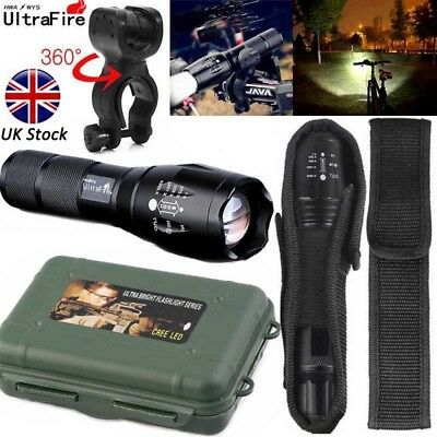 Ultrafire Flashlight 90000LM T6 LED Light Zoom Tactical 18650 +Torch Holder UK