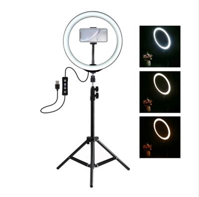 "10"" LED Ring Light with Stand Dimmable LED Lamp Kit Photography Video Vlogging"