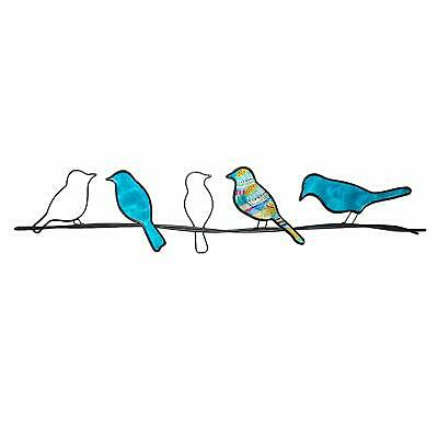 Eangee Home Designs Metal Handcrafted Birds On A Wire Sea Blue Wall Decor