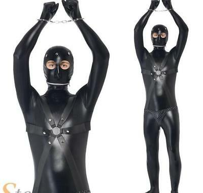 Cosplay Men Gimp Suit Costume Funny Comedy Stag Night Fancy Dress Adult Outfit