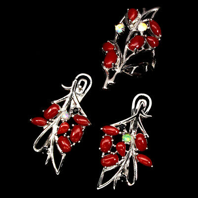 Natural Oval Coral Italy Fire Opal Black Spinel 925 Sterling Silver Ring Earring