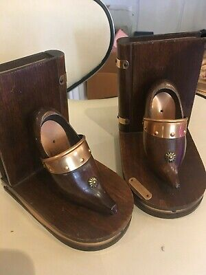 vintage style French Bookends brass le Pouliguen wood shoes kitsch