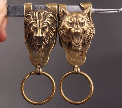 2 Chinese Old Bronze Handmade Tiger Lion Figurine Statue Key Fob Gift Collection