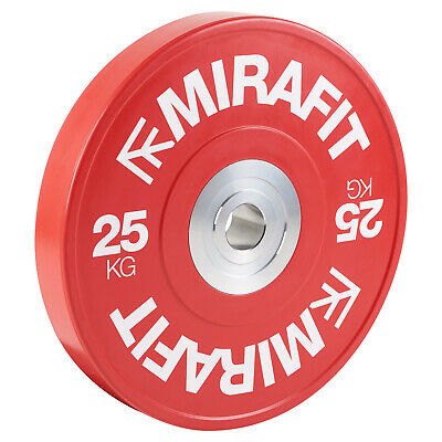 """Mirafit Black 2"""" Colour Coded Red Olympic Rubber Bumper Plates 20kg SALE #686"""