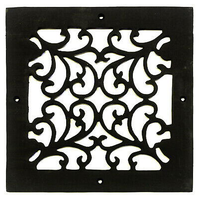 Square Register Cast Iron Heating Vent Grate Decorative Botanical Design
