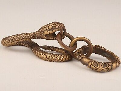Unique Chinese Old Bronze Handmade Snake Figurine Statue Key Chain Collection