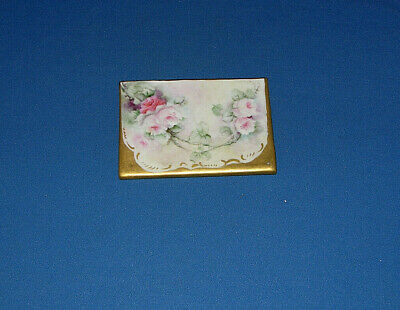 Antique Hand Painted Ceramic Tile Floral Hand Painted Vintage Tile