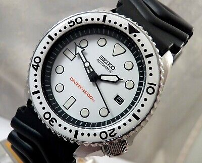 Seiko Ceramic Ice White SKX Dial Scuba Divers Automatic Date Watch Custom 7002