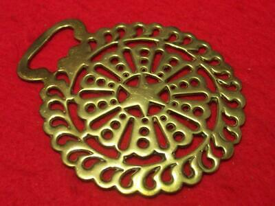 19th Century Antique Stamped Horse Brass of an Intricately Pierced Design #A6