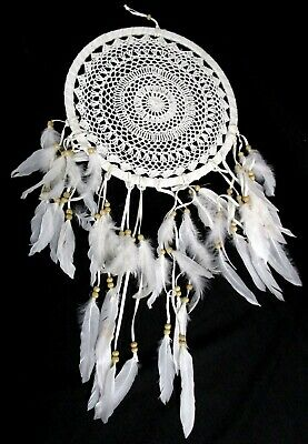 White Crochet Large Wall Hanging Boho Dream Catcher With Feathers
