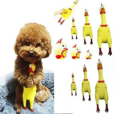 Gift Pet Dog Screaming Rubber Yellow Chicken Squeaky Tough Chew Treat Funny Toys