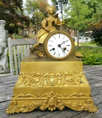 Antique 19th C Fine Gilt Bronze Neo Classical Style Mantle Clock w Seated Lady