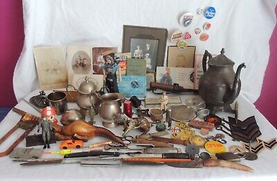 4-Antique Junk Drawer Lot Vintage ARMY KNIVES TOYS BUTTONS SILVER ITEMS?