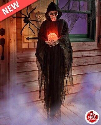 Life Size Psychic REAPER Haunted House HALLOWEEN Decoration Prop Crystal Ball