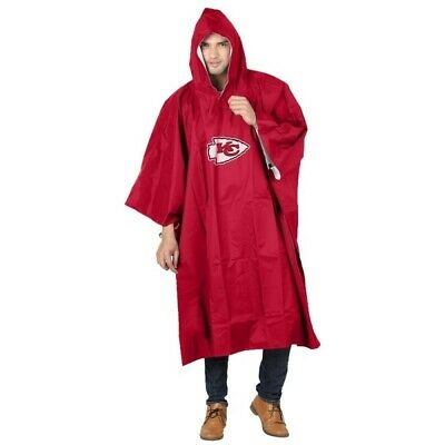 New NFL Kansas City Chiefs Reusable Adult Rain Poncho Hooded & Storage Pouch