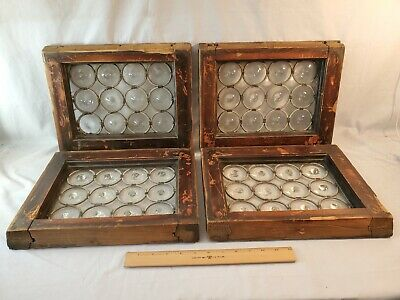 4 Total Antique Leaded Bullseye Glass Small Windows 12 Sections Each 19th C NR